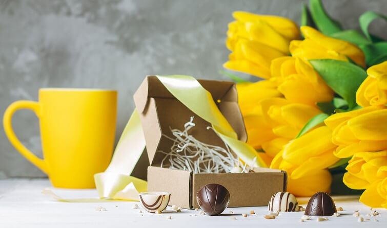 Chocolate Truffles packing box with flowers