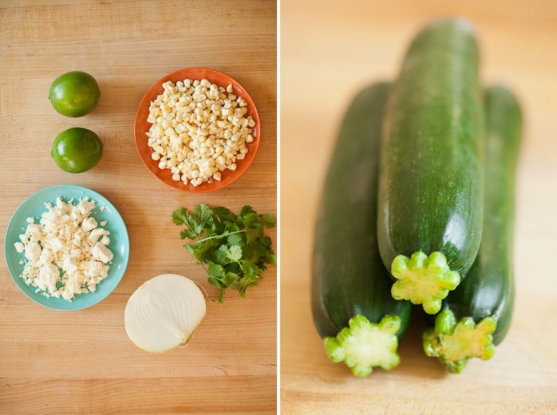 Corn and Zucchini Pizza ingredients