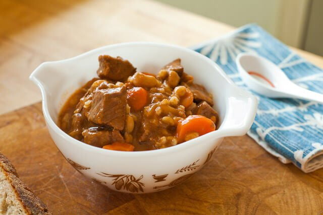 beef stew served in bowl