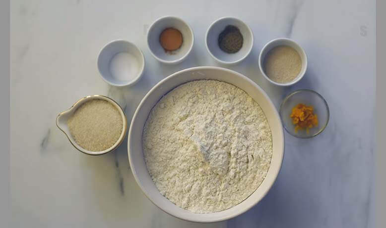 ingredients for dough on white table